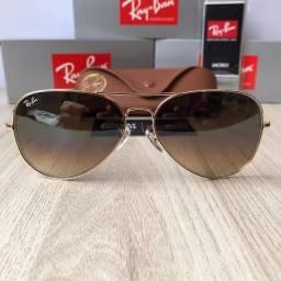 Óculos Ray ban Aviador RB3026 marrom degradê