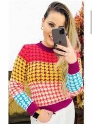Blusa tricot feminina/ tricô feminino colorido