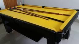 Mesa de Bilhar Diver Laterais Madeira Maciça Tabaco Tecido Amarelo
