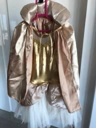 Fantasia Vestido Dourado com Capa