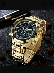 Relógio Amuda, Mens Sport Watch Led Ouro, Grande