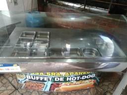 Balcão de inox com vidro para cachorro quente aberto