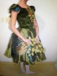 Vestido verde tafeta infantil 10 12 anos impecavel adereço cabelo fantasia