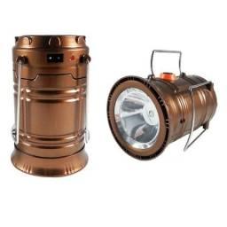 Lampião Led com função Lanterna Recarregável Solar Camping