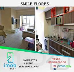 Smile Flores, 3 quartos sendo 1 suíte (semi mobiliado e climatizado)