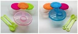 Kit 3pcs Pote Leite Em Pó + Pote Refeição + Talheres Bebê