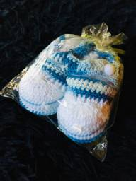 Sapato para bebês de crochê