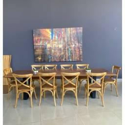 Mesa de madeira maciça Pequiá Resinada 3,00x 0,76x 0,82x