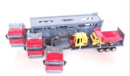 Kit 3 Caminhões Miniaturas Container Cegonha Terraplanagem