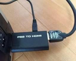 Ps2 Para Hdmi Conversor De Vídeo Com Saída De Áudio Hdtv Monitor ps2 e ps3