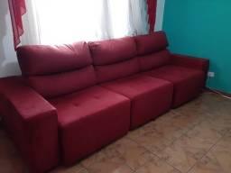 Sofá 3 lugares retrátil e reclinável, 3 metros de comprimento.
