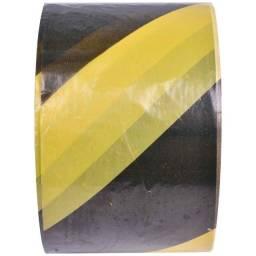 Fita Zebrada Preto/amarelo 50 M p/ sinalização