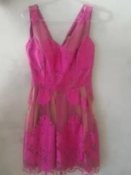 Vestido Rosa com Tule Bordado