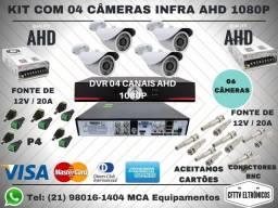 Kit Cftv Dvr AHD + 4 Câmeras Infra + 01 Fontes 12 V / 5A + Conectores Bnc e P4