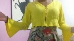 Conjunto calça cos alto tamanho 38 e cropped tamanho m