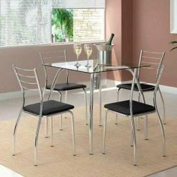 Conjunto de 4 cadeiras aço cromado