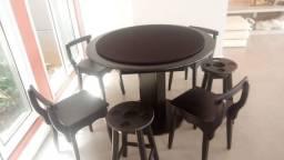Mesa Carteado Cor Preta Tecido Preto Mod. HEPR6717