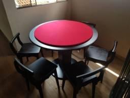 Mesa Carteado Cor Preta Tecido Vermelho Mod. EUJF1487