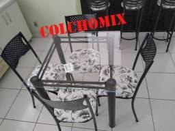 Mesa 4 cadeiras tampo de vidro