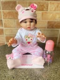 Linda boneca bebê Reborn toda em Silicone realista 48cm Nova (aceito cartão)