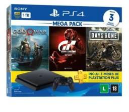 Playstation 4 slim 1tb semi-novo completo + 3 jogos