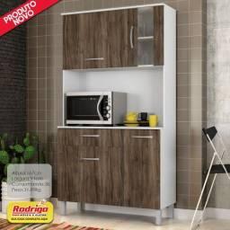 Título do anúncio: Cozinha Madine Paqueta Plus 910 4portas 1gaveta Branco/Carvalho