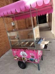 carrinho de bolo doces tortas lona rosa