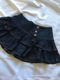 saia jeans de babados