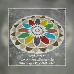 Mandala fundo de piscina mosaico piso