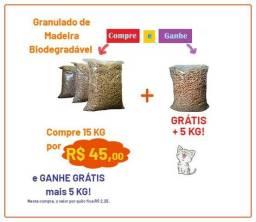 Granulado Sanitário de Madeira Biodegradável para gatos 15Kg Ganhe +5KG Grátis