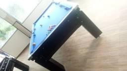Mesa Gaveta Semi Oficial Cor Preta Tecido Azul Mod. YUHK8236