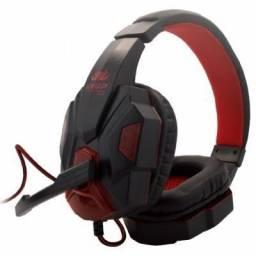 Headset Gamer Led Com Microfone Super Bass HD, Adaptador de Brinde