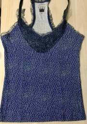 Blusa Regata Animale Estampada Azul