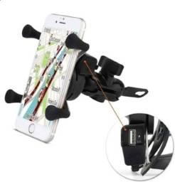 Suporte de Celular com Carregador 2.4a USB Garra para Moto so do Guidão