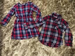 Vestido e camisa xadrez infantil
