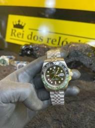 Rolex submariner prata com detalhe azul e verde novo