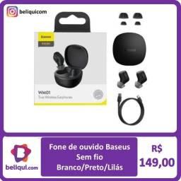 Fone Baseus Original sem fio Bluetooth Diversas Cores | Preto