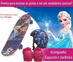 Skate infantil Frozen ou princesas Disney com kit proteção e bolsa novo 0 km