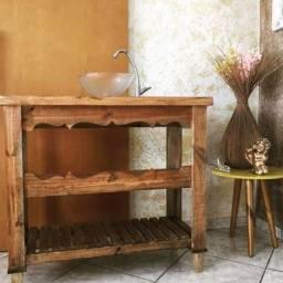 Gabinete banheiro madeira maciça rústico