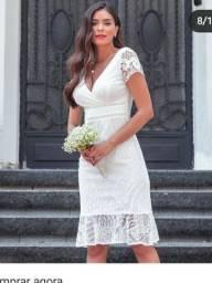 Vestido Renda Branco, Marca Verline, tamanho G, veste 40