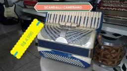 ACORDEON SANFONA SCANDALLI CAMERANO 120 BAIXOS ITÁLIA HIPER NOVA E TOP DE SOM