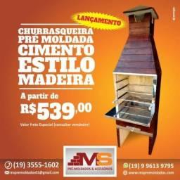Churrasqueira Pré-Moldada Estilo Madeira (NOVO)