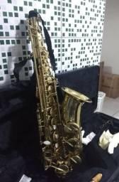 Saxofone alto dourado Harlem Sound, seminovo, belíssimos detalhes