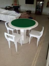 Mesa Carteado Cor Branca Tecido Verde Mod. HEXV8700