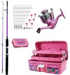 Kit Pesca Completo Rosa Molinete Vara Caixa e Acessórios - NOVO