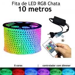 10 Metros Fita Led Chata Rgb 5050 Ip65 + Controle com Memória