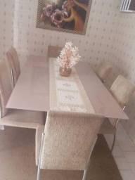 Mesa de Vidro Grande com 6 cadeiras