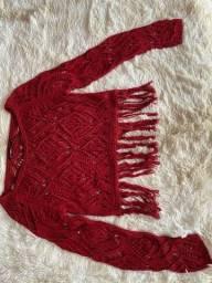 Título do anúncio: Cropped tricô vermelho bordo