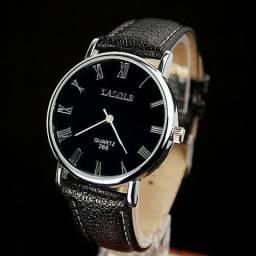 Relógio Yazole Pulseira de couro - A prova d`agua - Glass watch