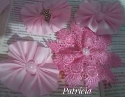 Laços para cabelos, flores em tecido, bico de pato